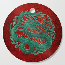 Wooden Jade Dragon Carving on Red Background Cutting Board