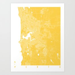 Perth map yellow Art Print