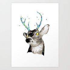 Geosafari | Deer (White) Art Print