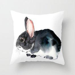 Bunny, Cute gray bunny Nursery Art children room watercolor bunny art Throw Pillow