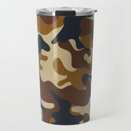 Brown Army Camo Camouflage Pattern Travel Mug