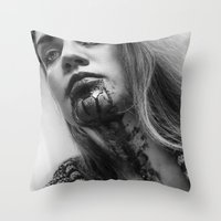 blood Throw Pillows featuring Blood by Ashley Boxler