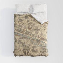 Vintage Pictorial Map of Paris France (1871) Comforters