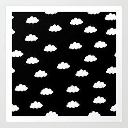 White clouds in black background Art Print