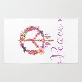 Peace Symbol Flower Power 70s Art Rug
