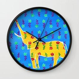 Elephant - yellow Wall Clock