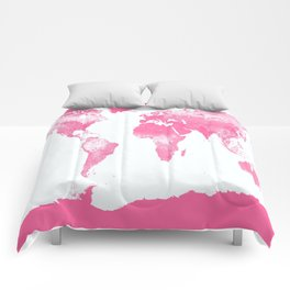 world mAp Pink Comforters