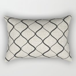 Black Bege Modern Lines Pattern Rectangular Pillow