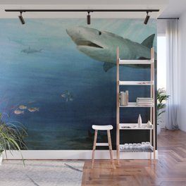 Shark Swimming by Fish in the Ocean Wall Mural