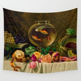 Goldfish bowl on a table with fruit and flowers Wall Tapestry