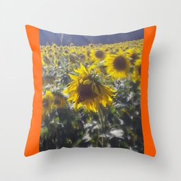 Butterfly and Sunflowers Throw Pillow