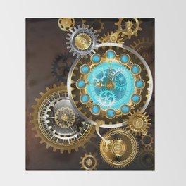 Unusual Clock with Gears ( Steampunk ) Throw Blanket