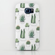 watercolour cacti and succulent Slim Case Galaxy S6