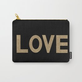 Gold Glitter LOVE - bold typography and modern glitter gold black and minimal trendy gifts quote art Carry-All Pouch
