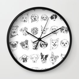 Dogs of the neighbourhood   a collection of portraits Wall Clock