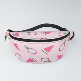 Summer Pink Watermelon and Dragon Fruits Pattern Fanny Pack