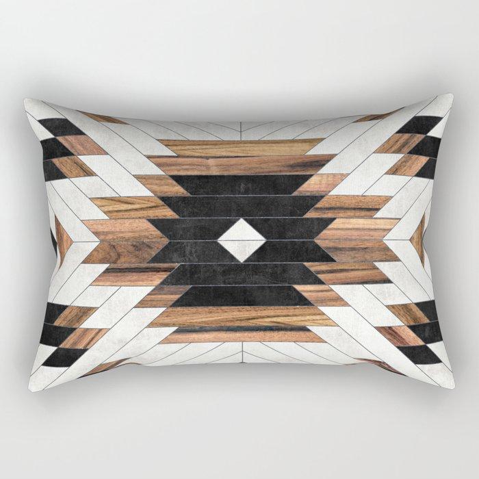 Urban Tribal Pattern No.5 - Aztec - Concrete and Wood Rechteckiges Kissen