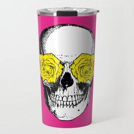 Skull and Roses | Pink and Yellow Travel Mug