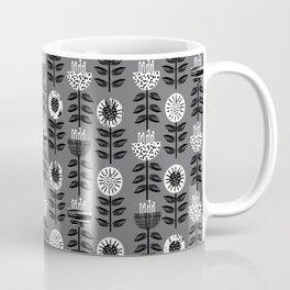 Scandi - modern flower floral pattern scandinavia design retro mid century print monochromatic grey  Coffee Mug