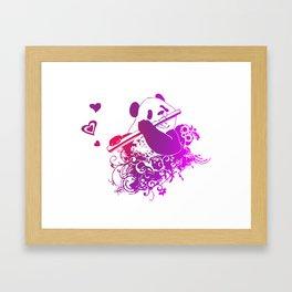 Panda Flute Framed Art Print