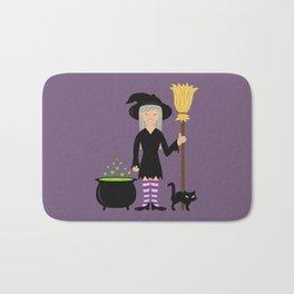 Cute Witch Girl And A Black Cat Halloween Design Bath Mat