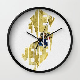 New Jersey Typographic Flag Map Art Wall Clock