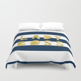 Lady Boss-Navy Stripes | Art | Pattern | Digital Design Duvet Cover