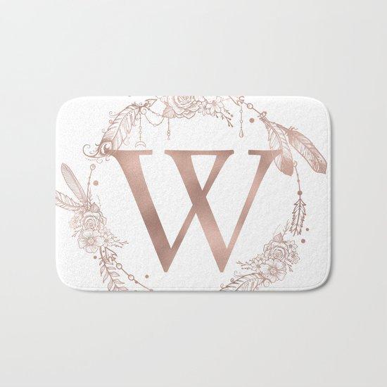 Letter W Rose Gold Pink Initial Monogram Bath Mat