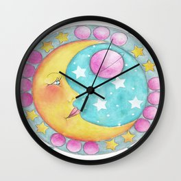 Whimiscal Moon Face Side View Wall Clock