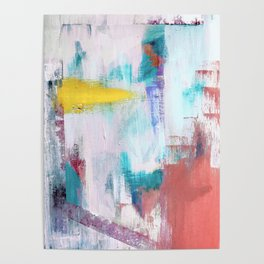 Colfax: an interesting, vibrant, abstract mixed media piece in a variety of colors Poster
