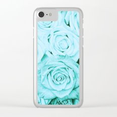 Turquoise roses - flower pattern - Vintage rose on #Society6 Clear iPhone Case