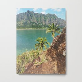 Palm Trees Overlooking Ocean And Kualoa Mountain Range Metal Print