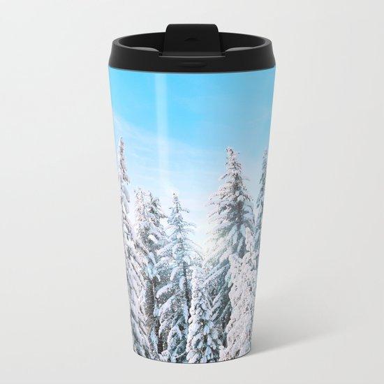 Snow covered evergreens Metal Travel Mug