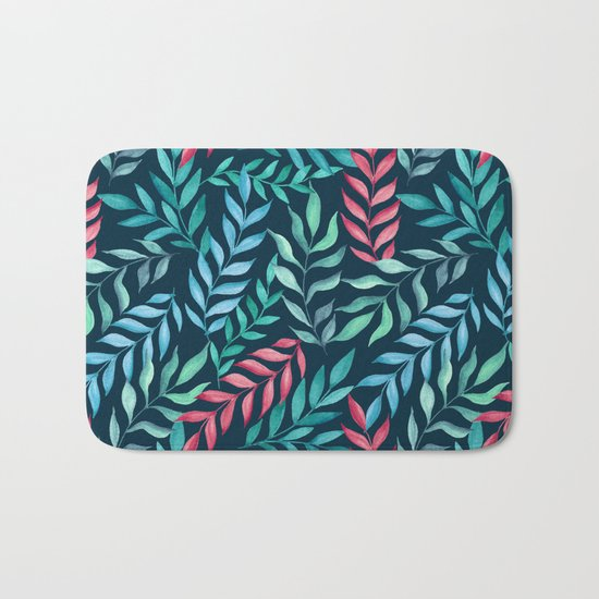 Blue and red branches. Watercolor Bath Mat