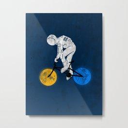Astronaut on bicycle Metal Print