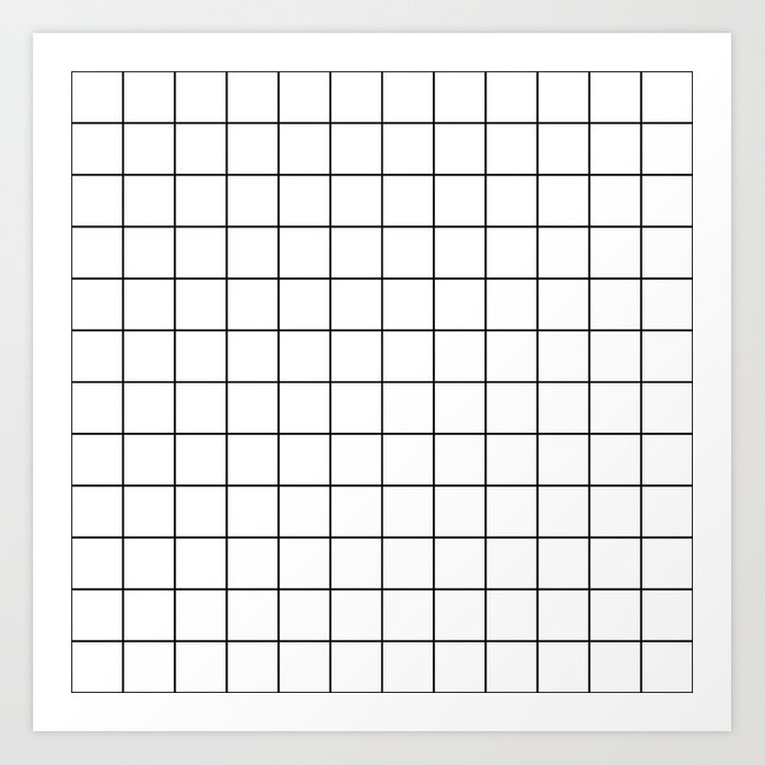 Grid Simple Line White Minimalist Art Print By