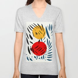 Yellow and Red Abstract Art Graphic Design Unisex V-Neck