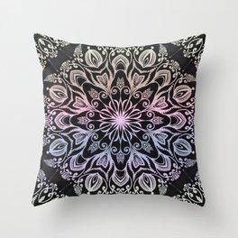 Coloring on the dark bacground hand drawn mandala Throw Pillow