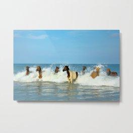 Wild Horses Swimming in Ocean Metal Print