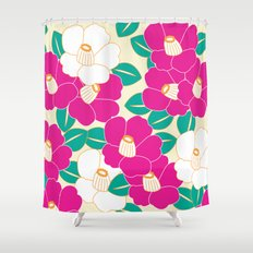 Japanese Style Camellia - Pink and White Shower Curtain
