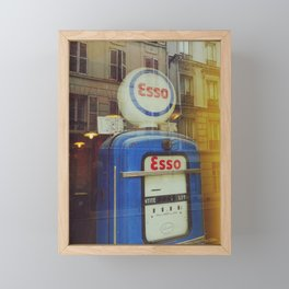 Old Blue Fuel Pump and french facades - Fine Art Photography Framed Mini Art Print