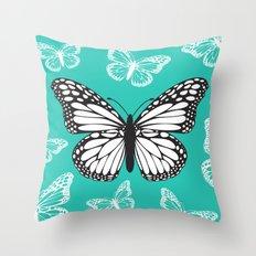 Butterfly - Aqua Throw Pillow