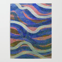 Drifting Blue and Cream Poster