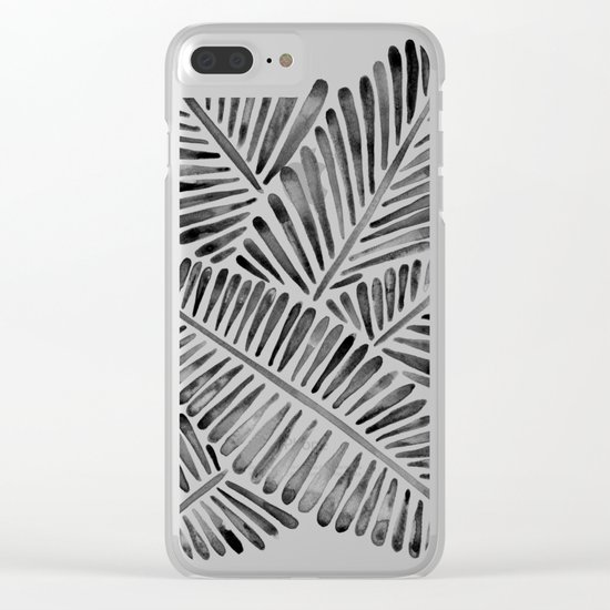 Tropical Banana Leaves – Black Palette Clear iPhone Case