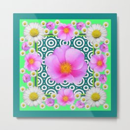 Teal Green Color Art Fuchsia Daisy Pink Roses Patterns Metal Print