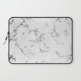 Soft White Marble With Smoky Silver Veins Laptop Sleeve