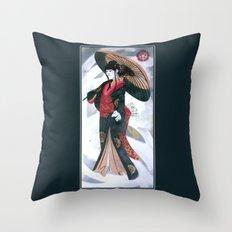Japanese Woman Street Art Throw Pillow