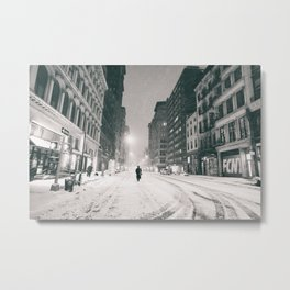 New York - Snow at Night Metal Print