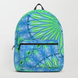 Delicate mandala in blue and neon green tones Backpack