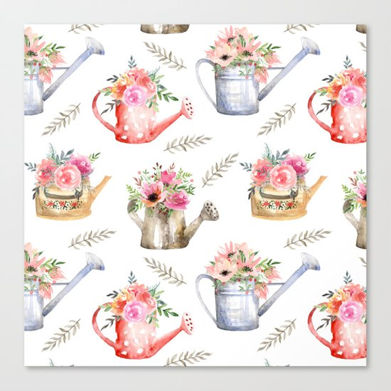 Garden watering cans and flowers. Vintage pattern Canvas Print